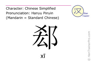 Chinese characters  ( xi / xī ) with pronunciation (English translation: <m>cleavage</m> )