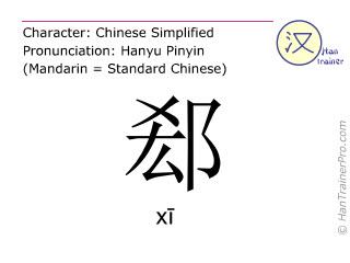 Caracteres chinos  ( xi / xī ) con pronunciación (traducción española: <m>escisión</m> )