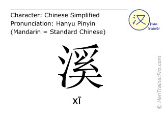 Chinese characters  ( xi / xī ) with pronunciation (English translation: creek )