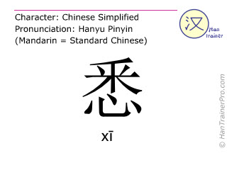 Chinese characters  ( xi / xī ) with pronunciation (English translation: to know )