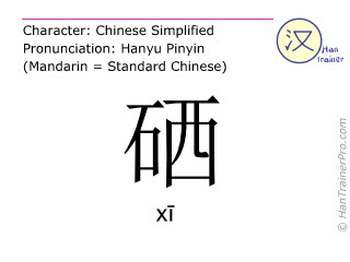 Chinese characters  ( xi / xī ) with pronunciation (English translation: selenium )