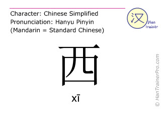 Chinese characters  ( xi / xī ) with pronunciation (English translation: west )