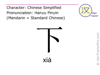 Chinese characters  ( xia / xià ) with pronunciation (English translation: down )