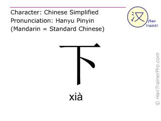 汉字  ( xia / xià ) 包括发音 (英文翻译: down )