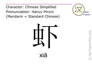 Chinesische Schriftzeichen  ( xia / xiā ) mit Aussprache (Deutsche Bedeutung: Krabbe )