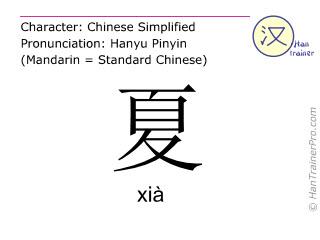 Chinesische Schriftzeichen  ( xia / xià ) mit Aussprache (Deutsche Bedeutung: Sommer )