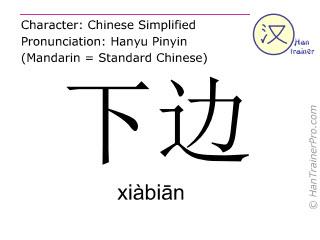 Caractère chinois  ( xiabian / xiàbiān ) avec prononciation (traduction française: sous )