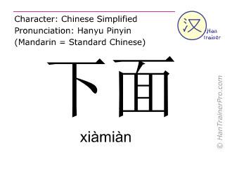 Chinesische Schriftzeichen  ( xiamian / xiàmiàn ) mit Aussprache (Deutsche Bedeutung: unten )