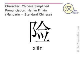 Caracteres chinos  ( xian / xiăn ) con pronunciación (traducción española: peligro )