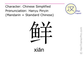 Chinese characters  ( xian / xiān ) with pronunciation (English translation: fresh )