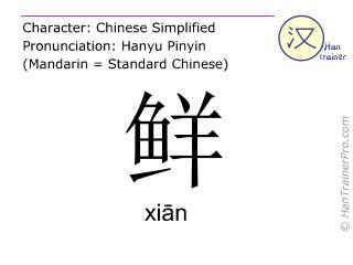 Chinesische Schriftzeichen  ( xian / xiān ) mit Aussprache (Deutsche Bedeutung: frisch )