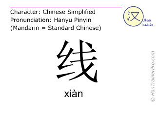 Chinese characters  ( xian / xiàn ) with pronunciation (English translation: <m>line</m> )