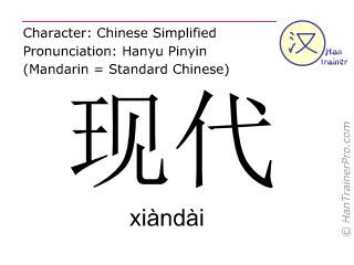 Chinese characters  ( xiandai / xiàndài ) with pronunciation (English translation: modern )