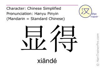 Chinesische Schriftzeichen  ( xiande / xiăndé ) mit Aussprache (Deutsche Bedeutung: aussehen )