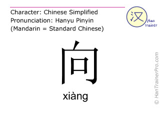 Chinese characters  ( xiang / xiàng ) with pronunciation (English translation: to lead )