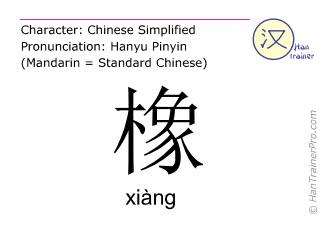 Chinesische Schriftzeichen  ( xiang / xiàng ) mit Aussprache (Deutsche Bedeutung: Eiche )