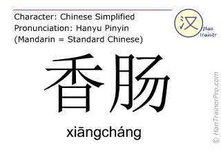 汉字  ( xiangchang / xiāngcháng ) 包括发音 (英文翻译: sausage )