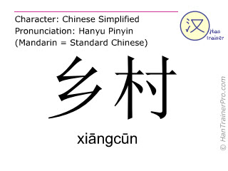 Chinese characters  ( xiangcun / xiāngcūn ) with pronunciation (English translation: village )