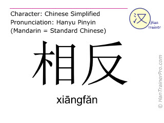 Chinese characters  ( xiangfan / xiāngfăn ) with pronunciation (English translation: opposite )