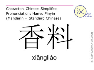 Chinese characters  ( xiangliao / xiāngliào ) with pronunciation (English translation: spice )
