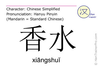 Chinesische Schriftzeichen  ( xiangshui / xiāngshuĭ ) mit Aussprache (Deutsche Bedeutung: Parfum )