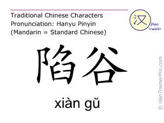 Chinesische Schriftzeichen  ( xian gu / xiàn gŭ ) mit Aussprache (Deutsche Bedeutung: Magen 43 )