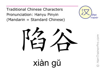 Chinese characters  ( xian gu / xiàn gŭ ) with pronunciation (English translation: Stomach 43 )