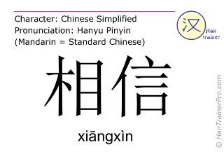 Chinesische Schriftzeichen  ( xiangxin / xiāngxìn ) mit Aussprache (Deutsche Bedeutung: (jemanden) trauen )