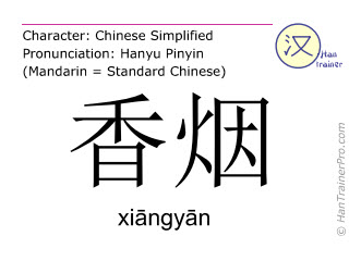 Chinese characters  ( xiangyan / xiāngyān ) with pronunciation (English translation: cigarette )