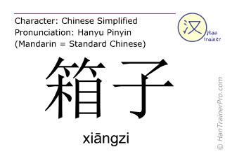 Caracteres chinos  ( xiangzi / xiāngzi ) con pronunciación (traducción española: maleta )