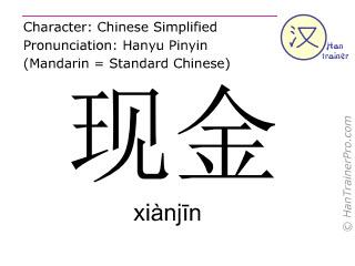 Chinesische Schriftzeichen  ( xianjin / xiànjīn ) mit Aussprache (Deutsche Bedeutung: Bargeld )