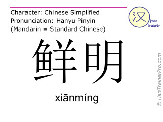 Chinese characters  ( xianming / xiānmíng ) with pronunciation (English translation: bright )