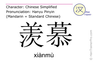 Chinese characters  ( xianmu / xiànmù ) with pronunciation (English translation: admiration )