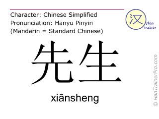 Chinese characters  ( xiansheng / xiānsheng ) with pronunciation (English translation: Mister )