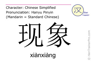 Chinese characters  ( xianxiang / xiànxiàng ) with pronunciation (English translation: phenomenon )
