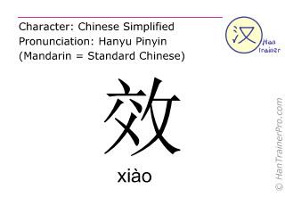 汉字  ( xiao / xiào ) 包括发音 (英文翻译: <m>effect</m> )