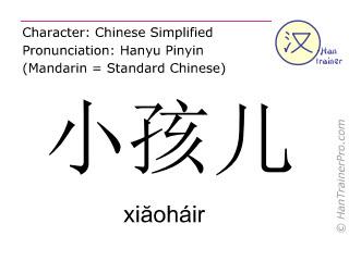 Caractère chinois  ( xiaohair / xiăoháir ) avec prononciation (traduction française: enfant )