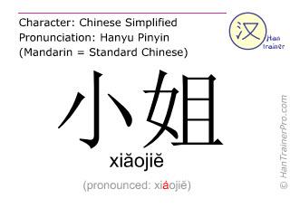 汉字  ( xiaojie / xiăojiĕ ) 包括发音 (英文翻译: Miss )