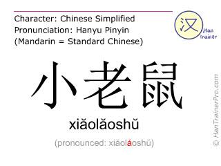 Chinese characters  ( xiaolaoshu / xiăolăoshŭ ) with pronunciation (English translation: mouse )
