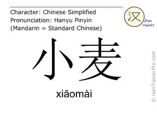 Caracteres chinos  ( xiaomai / xiăomài ) con pronunciación (traducción española: trigo )