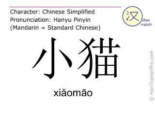 Chinesische Schriftzeichen  ( xiaomao / xiăomāo ) mit Aussprache (Deutsche Bedeutung: Miezekatze )