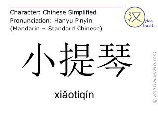 汉字  ( xiaotiqin / xiăotíqín ) 包括发音 (英文翻译: violin )