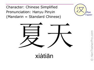 汉字  ( xiatian / xiàtiān ) 包括发音 (英文翻译: summer )