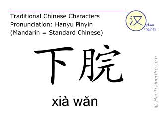 Chinesische Schriftzeichen  ( xia wan / xià wăn ) mit Aussprache (Deutsche Bedeutung: Ren Mai 10 )