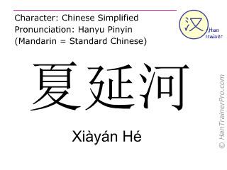 Caracteres chinos  ( Xiayan He / Xiàyán Hé ) con pronunciación (traducción española: río Cheyenne )