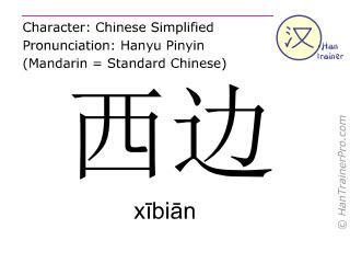 Chinesische Schriftzeichen  ( xibian / xībiān ) mit Aussprache (Deutsche Bedeutung: (im) Westen )