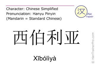 Chinese characters  ( Xiboliya / Xībólìyà ) with pronunciation (English translation: Siberia )