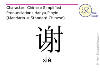 Chinese characters  ( xie / xiè ) with pronunciation (English translation: to thank )