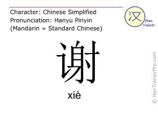 Caractère chinois  ( xie / xiè ) avec prononciation (traduction française: remercier )