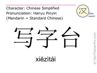 Chinese characters  ( xiezitai / xiĕzìtái ) with pronunciation (English translation: desk )